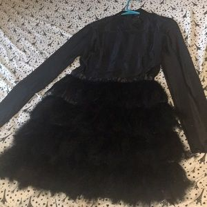 Fawn black feather skirt bodycon dress